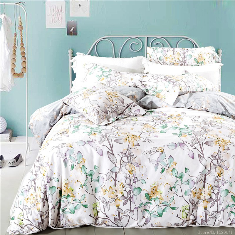 new white leaf print duvet cover floral boho bedding set cotton furniture covers queen size - Floral Duvet Covers