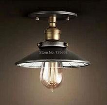 Dia.22cm новый лофт Старинные небольшой чердак железа потолочный светильник с зеркалом внутри отраженного света черный цвет с E27 лампы базы