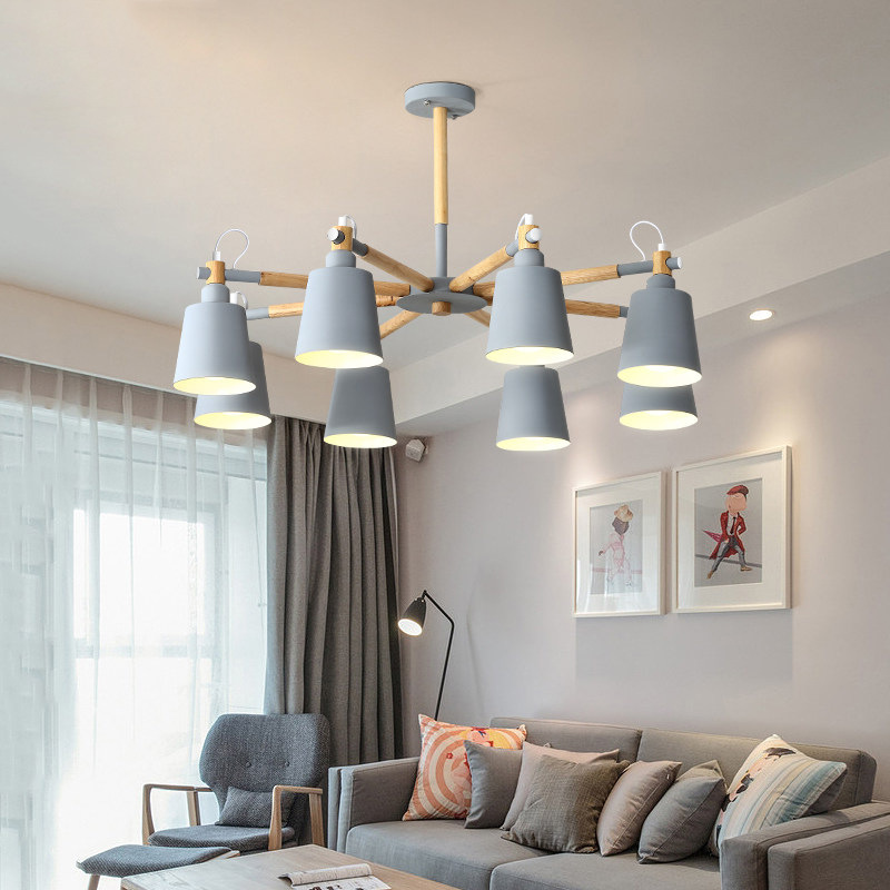 Nordic Wood Chandelier Macaron Color Hanging Ceiling Lamp Modern Chandelier E27 bulb Ceiling Hanging Lamp for Living Dining Room in Chandeliers from Lights Lighting