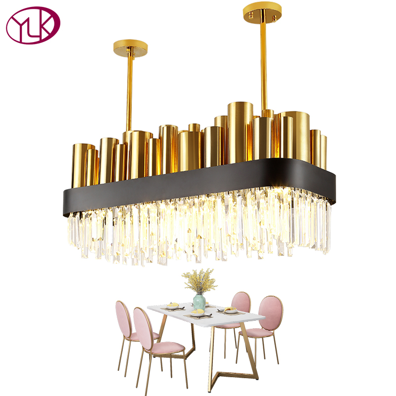 Youlaike De Luxe Moderne Lustre En Cristal Or Poli Acier Salle À Manger Luminaire Rectangle AC110-240V Cristal Lampe