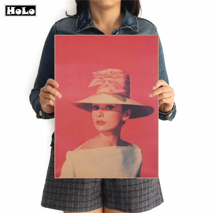 Histoire classique Audrey Hepburn film Star Vintage papier Kraft affiche Bar café décoratif peinture autocollant FAD 42.5x30.5 cm