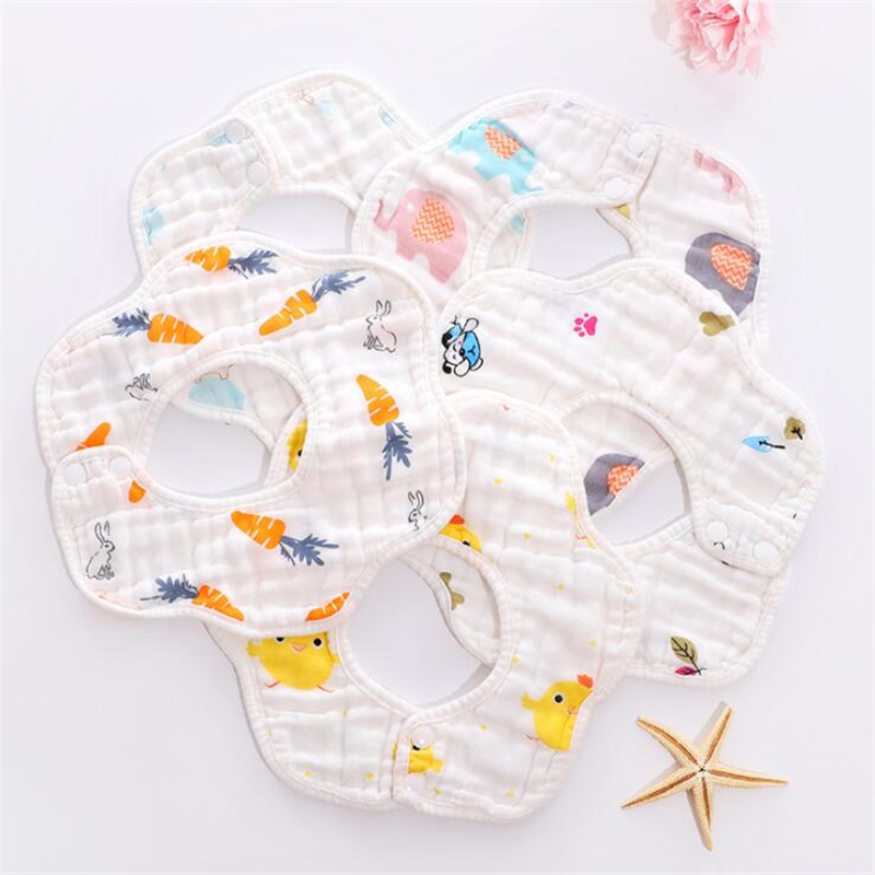 Infant Petal Type Gauze Towel Bib / Baby Cotton Gauze Every Milk Towel / Child 360 Rotating Saliva Towel Bib Bib