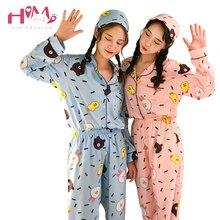 2017 японский осень Для женщин сна пижамы милые отдыха Домашняя одежда женский Kawaii Медведь забавный кролик топы с длинными рукавами комплект из двух предметов