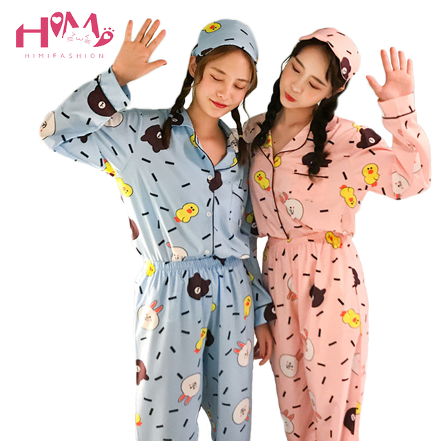 2018 Japanese Autumn Women Sleep Pajamas Cute Leisure Home Wear Female  Kawaii Bear Rabbit Kawaii Long Sleeve Tops Two Piece Set 3fe00b6a8