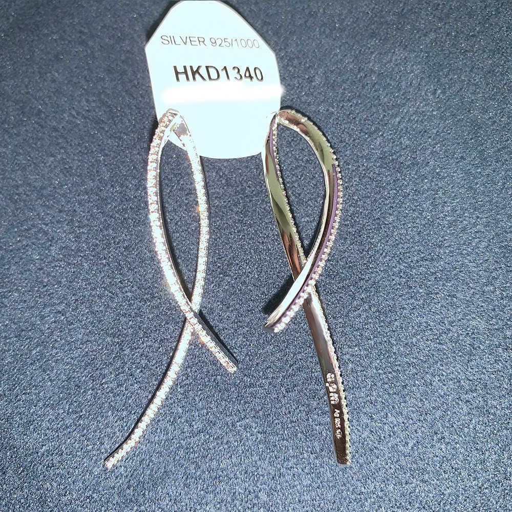 תוספות-APM עגילי S925 כסף פשוט צלב קו ארוך ההיפרבולי עגילי מתנת חג אהבת ילדה