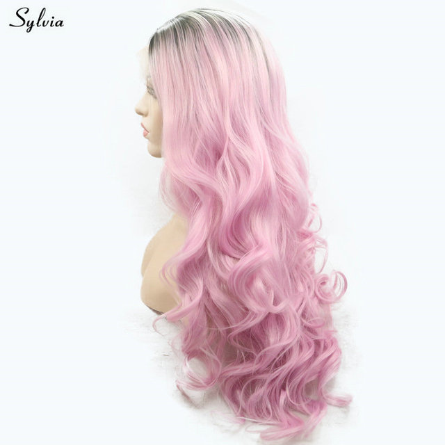 Sylvia Bright Pink Wig Ombre Short Dark Roots High Temperature Long