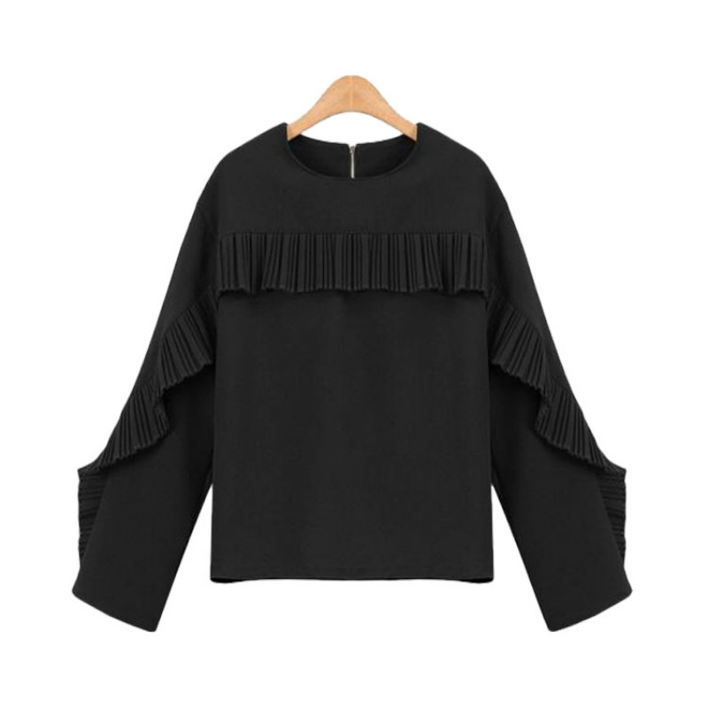 European 2017 Spring New Style Crew Neck Falbala Chiffon Blouse Women's Clothing Loose Base Shirt Slim All Matched Tops Sexy
