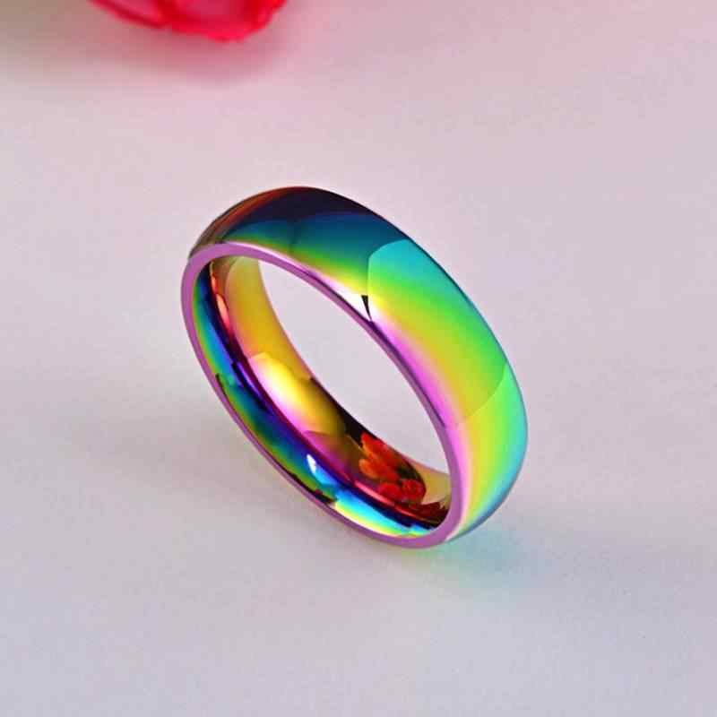Moda simples anel da mulher aço inoxidável arco-íris anel legal menino clássico cor anel de casamento anel casal jóias anillos mujer