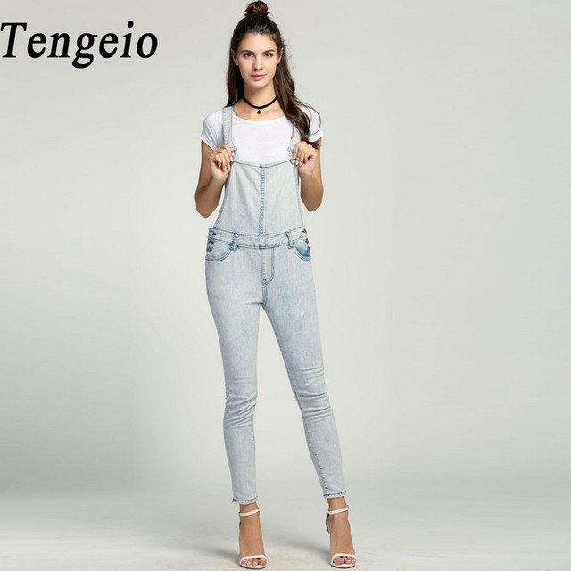 9d50f381e16 Tengeio Button Autumn Bodysuit Women denim overalls Bleached Skinny Casual Salopette  Femme En Jean Jumpsuit Pants Body Femme 615