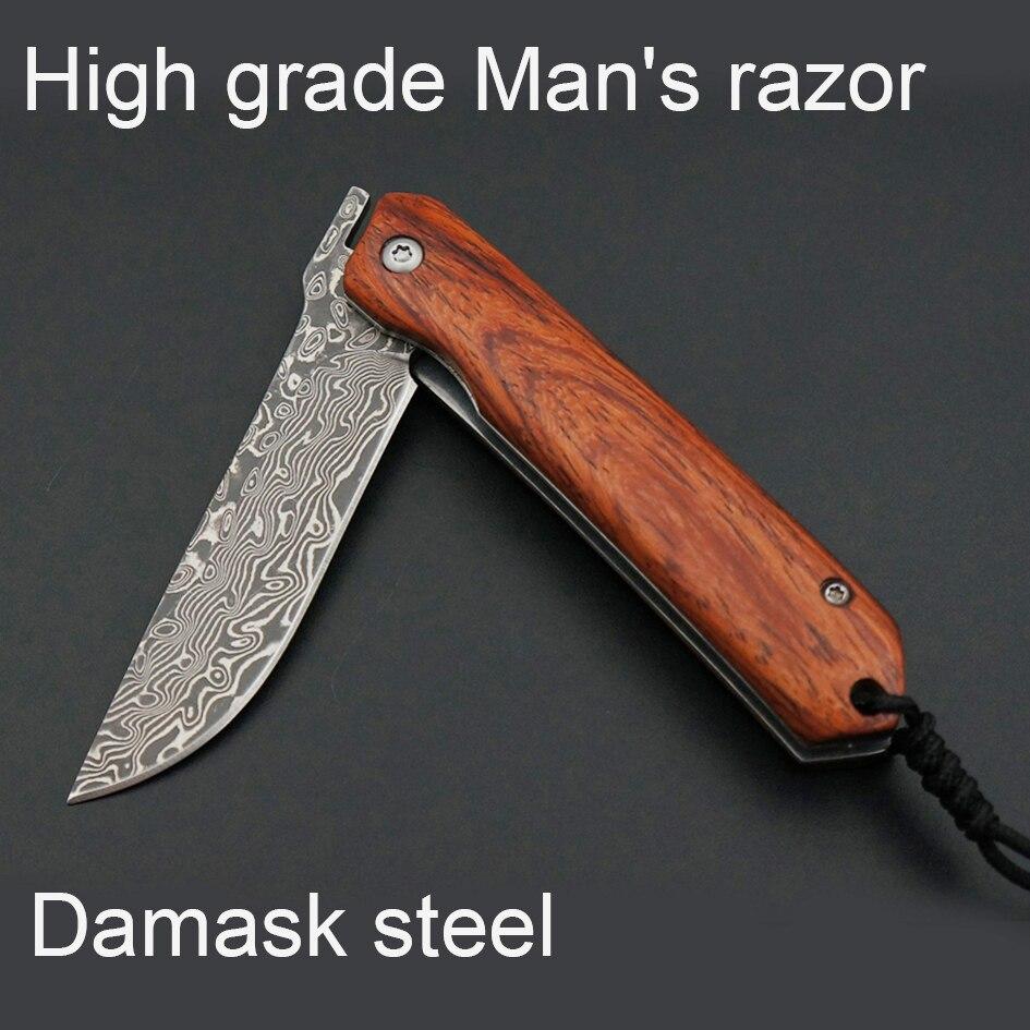 NEUE spanien Damaskus stahl rasierer herren lieblings, tragbare mann rasiermesser hochwertigen Palisander griff rasiermesser rasierer Geschenk Set