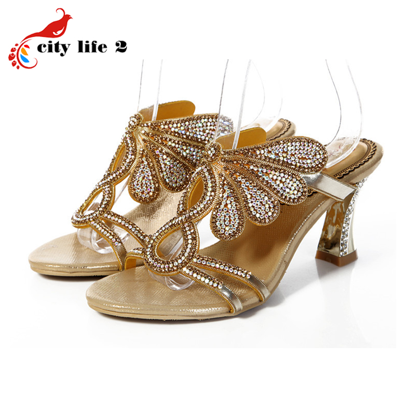 Colorful Rehinestone Peacock Shoes font b Woman b font Sandals New Female High Heels Slippers Summer