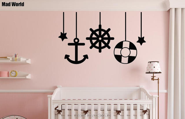 mad world sea hanging sea ships anchor wall art stickers wall decal