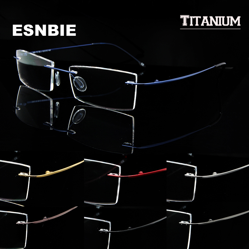 Ultralight Titanium Rimless Glasses Gold Men Small Square Frameless Eyeglasses Frame Women Optical Frame Flexible Slim Ben