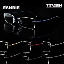 Ultralight Titanium Rimless Glasses Gold Men Small Square Frameless Eyeglasses Frame Women Optical Frame Flexible Slim Leg