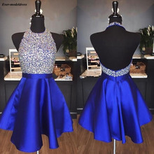 2019 Royal Blue Sparkly Graduation Dresses Halter Backless Beading Short Homecoming Party vestido de formatura