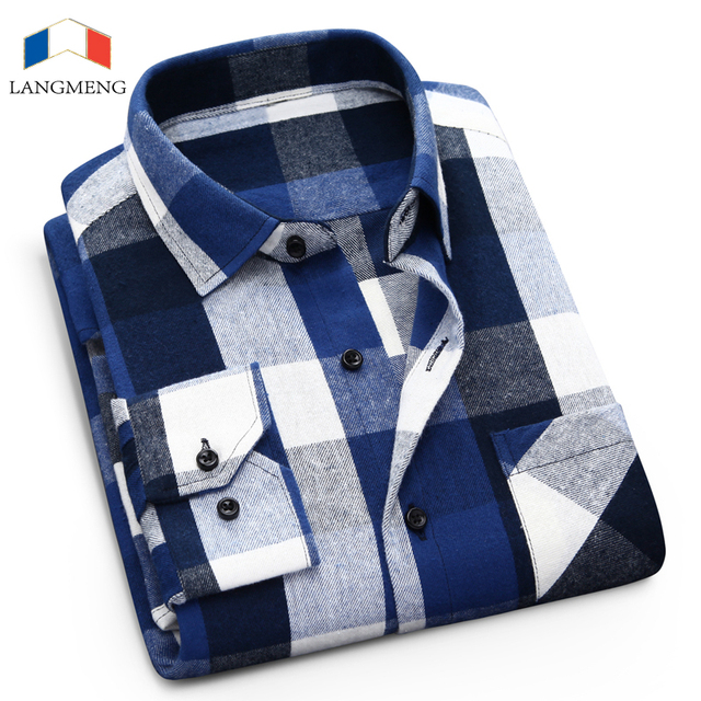 100% cotton flannel plaid casual shirt