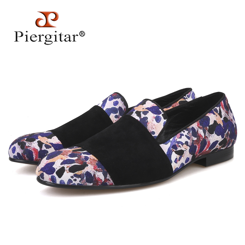 Piergitar Loafers Casual-Style Black Luxury Animal Prints with Suede-Strap for Party