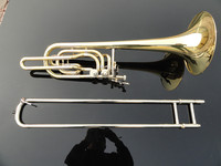 Customized High Quality Brass Trombone Gold Lacquer Playing Musical Instrument Double Piston BB Adjustable
