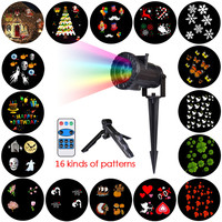 Christmas Lights Waterproof LED Projector 16 Film Cards Laser Fairy Light Projection Family Christmas New Year