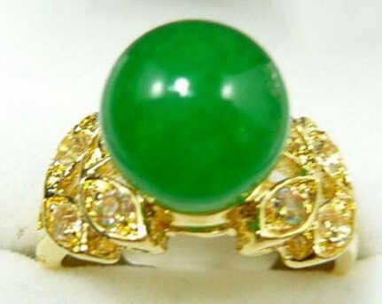 จัดส่งฟรี>>>@@ 0xหยกสีเขียวสีเหลืองทองชุบคริสตัลผีเสื้อแหวนขนาด: 6.7.8.9สามารถเลือก