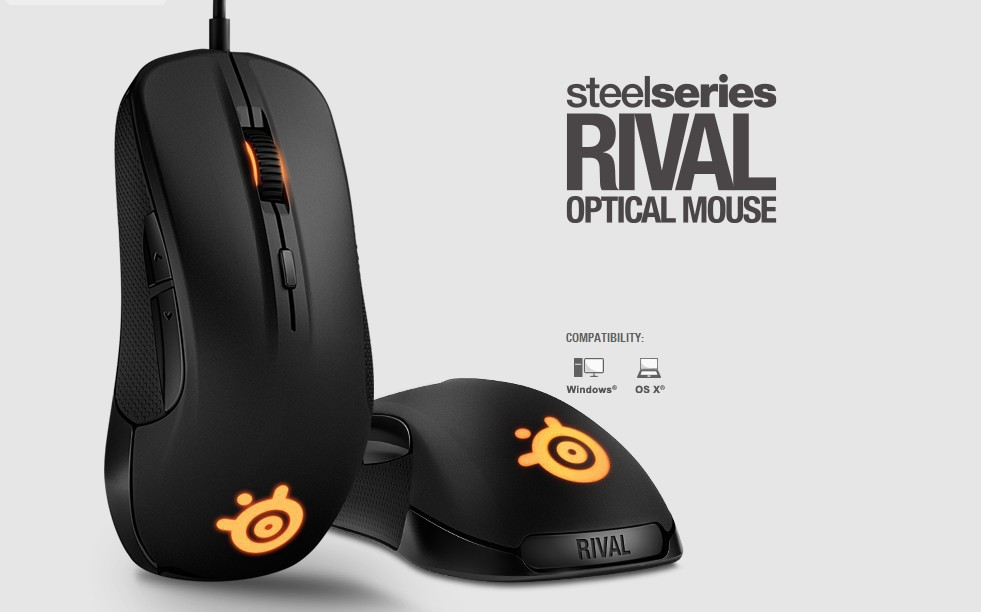 Gaming Mouse Steelseries RIVAL Optical Mouse LED Ergonomics Dota 2 Brand computer accessories Brand mouse gamer+1 Set Mouseskate