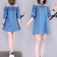 2018 Spring summer women mesh jeans dress A line solid appliquesed mini o neck three quarter Korean style plus size 5 XL