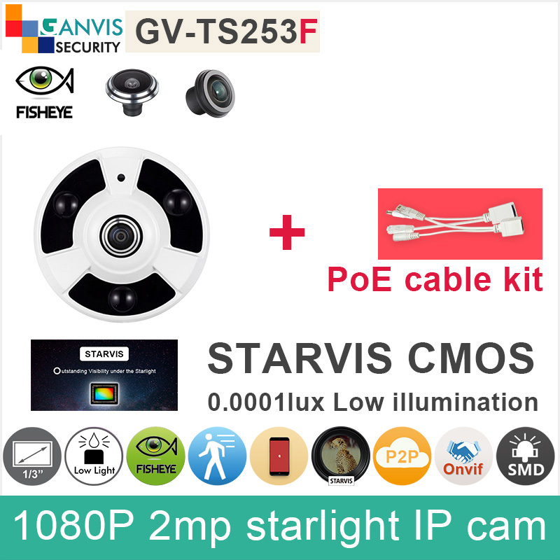 Full HD Fisheye IP camera panoramic 2mp 1080P SONY IMX291 cmos color starlight CCTV camera with PoE cable GANVIS GV-TS253F pk sony starvis built in heater poe cable kit ip camera 1080p full hd 2mp starlight cctv camera outdoor dome ganvis gv ts255vh pk