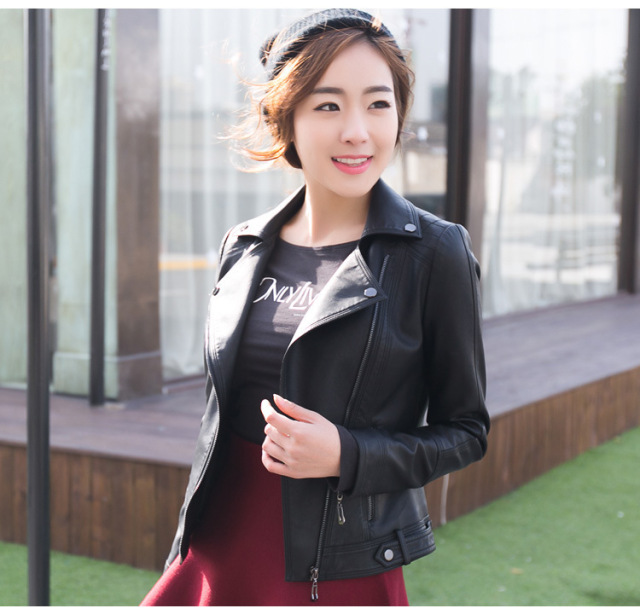 ENJOY PLUS 7%OFF chest 87-103cm autumn 2016 faux pu black short women leather jacket black large size motorcycle ladies S- XXL