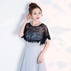 Image 2 - JaneVini Elegante Preto do Verão Do Laço Nupcial de Casamento Bolero Wraps Mulheres Baratos Curto Cape Xailes Roubou Outwear Acessórios Do Casamento