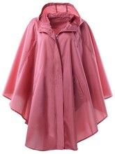 Womens Stylish Pongee Waterproof Raincoat Rain poncho Trench Coat with Hood for Hiking and Biking