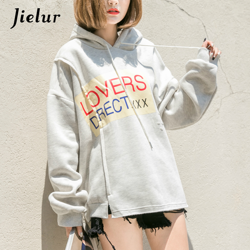 Korean Pop Oversize Irregular Hoodies Street Chic Holes Printed Sweatshirt BF Hooded Moletom