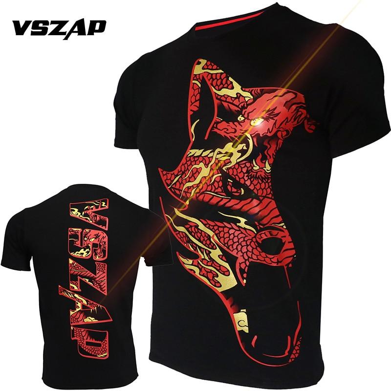 VSZAP MMA Muay Thai Boxing Shorts Muay Thai Dragon Pattern Sport T Shirt Training Wear Breathable MMA Shirt Boxing Clothing