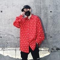 Male Streetwear Hip Hop Dress Shirt Party Dance Clothing Men Chinese Print Casual Loose Long Sleeve Shirts