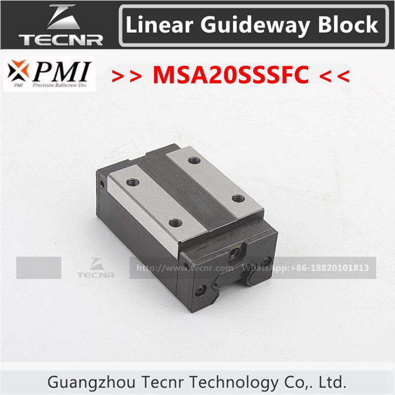 Taiwan PMI linear guideway slide carriage block MSA20S MSA20SSSFC slider for CO2 laser machine motor linear actuators high quality guideway toothed laser machine belt drive rail high speed bed electric dc unit slider