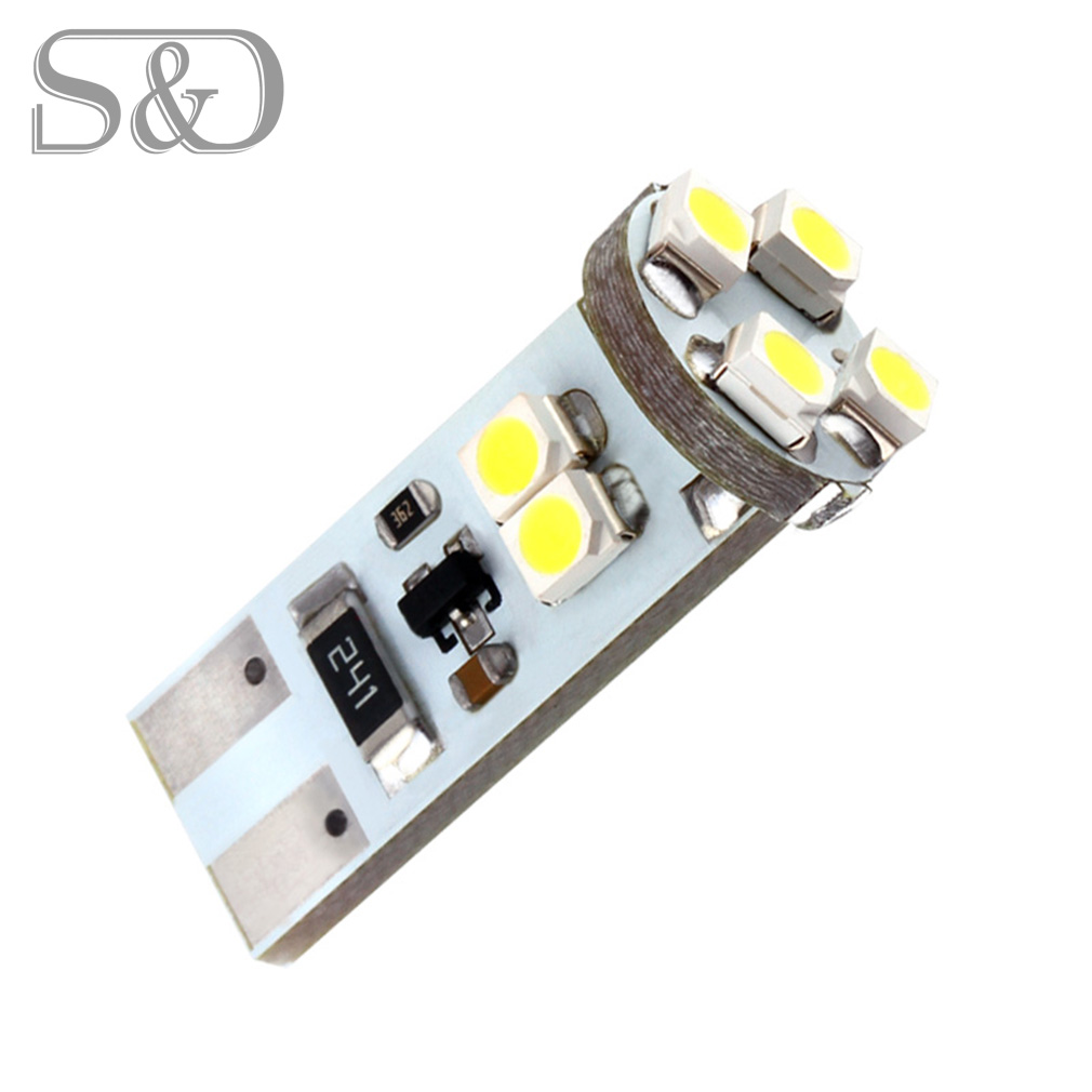 T10 8 SMD White CANBUS OBC Error Free W5W LED Bulb 501 dash lamp led car bulbs interior Lights Car Light Source parking D010 4pcs super bright t10 w5w 194 168 2825 6 smd 3030 white led canbus error free bulbs for car license plate lights white 12v