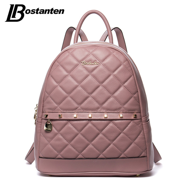 a67ad52074c US $59.99 40% OFF BOSTANTEN Fashion Diamond Lattiice Genuine Leather  Backpack Rivet Women Bags Preppy Style Backpack Girls School Bags Back  Pack-in ...