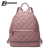 BOSTANTEN Fashion Diamond Lattiice Genuine Leather Backpack Rivet Women Bags Preppy Style Backpack Girls School Bags