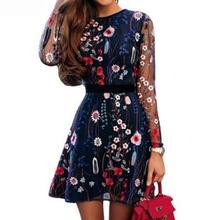 2019 New Yfashion Women Sexy See-through Mesh Flower Bohemian Summer Dress