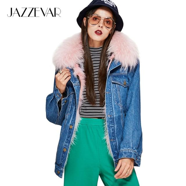 Jazzevar Новые уличной моды женская джинсовая куртка Съемный натуральный мех лайнер енота меховым воротником Зимняя Куртка Свободная одежда