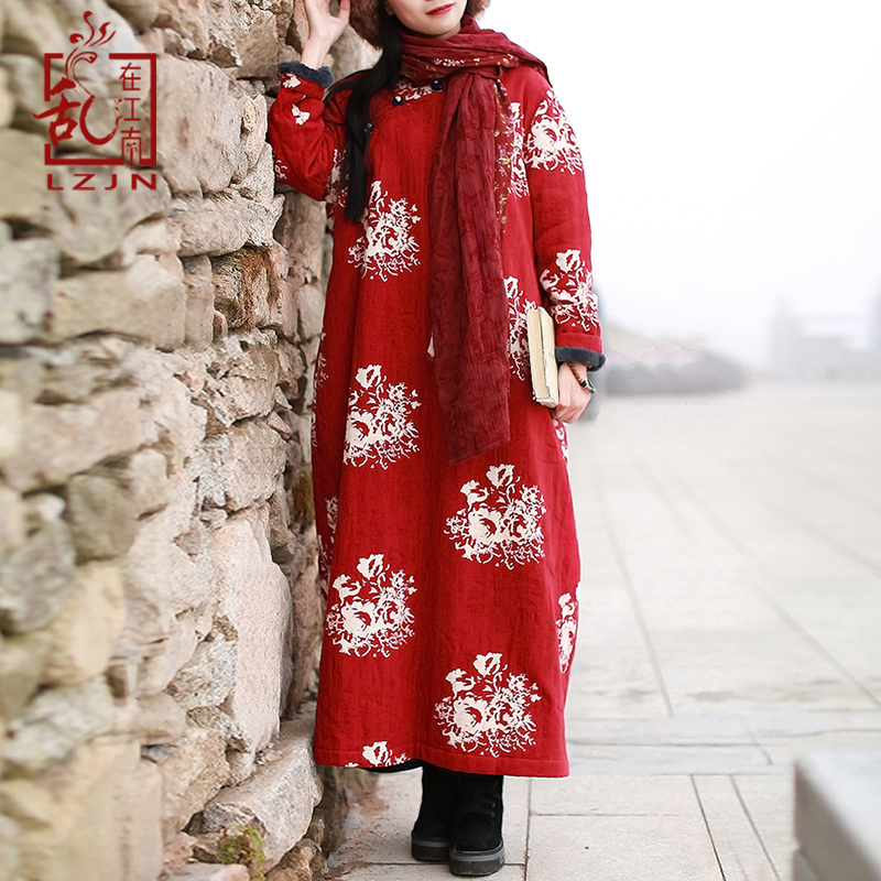 Poches red Robe Qipao Robes Hiver Blue 2018 À Polaire Lzjn Longues Pour Floral Imprimé Chinois Maxi Traditionnel Femmes Cheongsam Manches Chaud BOnwRYqz