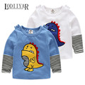 Cartoon Animals Dinosaur Long Sleeve T-shirt Baby Boys Clothing, Casual O-neck Striped Top Tees Spring Autumn Bottoming Shirts