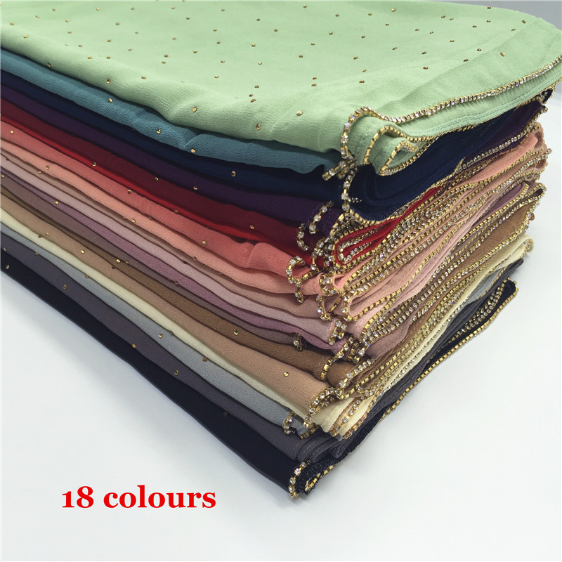 Ready StockSolid Color Pearl Chiffon Stone Chain Edge Baotou Scarf Shawl Silk Scarf 18 Color