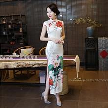 YZ Vintage Handmade Button Flower Cheongsam Traditional Chinese Women Satin Sexy Dress Novelty High Slits Slim Long Qipao