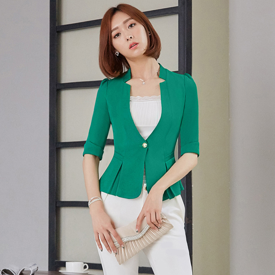 Casual Plus Size Ladies Blazers Office Blue Wear Womens Blazers Short Korean Blazer Women Casaco Feminino Work Clothes P4C0984