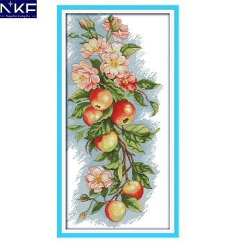 Patrón de costura NKF de flores y manzanas, Kit de bordado hecho a mano de punto de cruz, punto de cruz chino para decoración de Navidad DIY