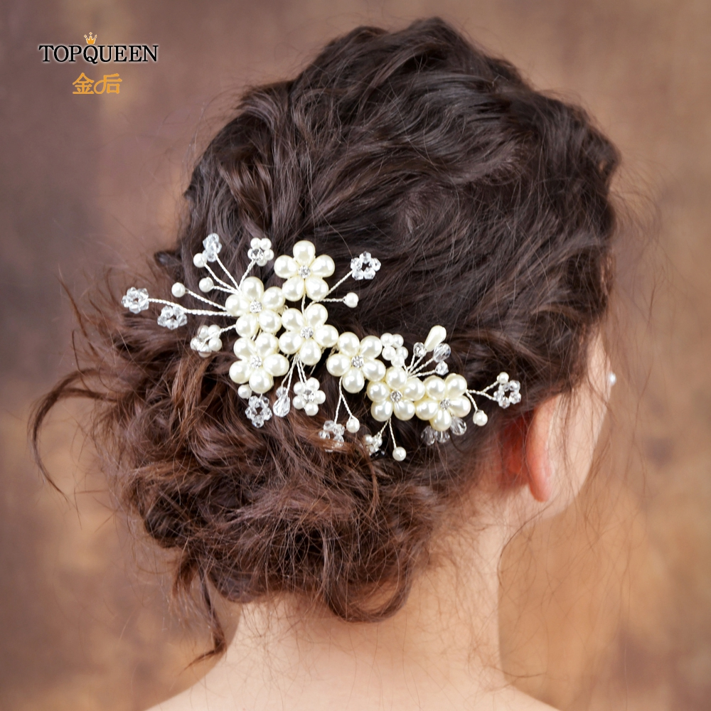 TOPQUEEN Luxury Hair Clip Bridal Hair Comb Accessories Bridal Headpieces Wedding Hair Accessories Pearl Wedding Hair Comb HP05