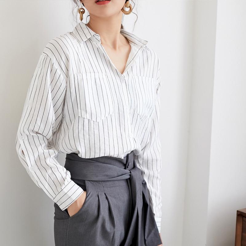 BGTEEVER Striped Women   Blouses   Tops Long Sleeve Turn-down Collar   Blouse     Shirt   Female Casual Loose   Shirts   2019 blusas mujer