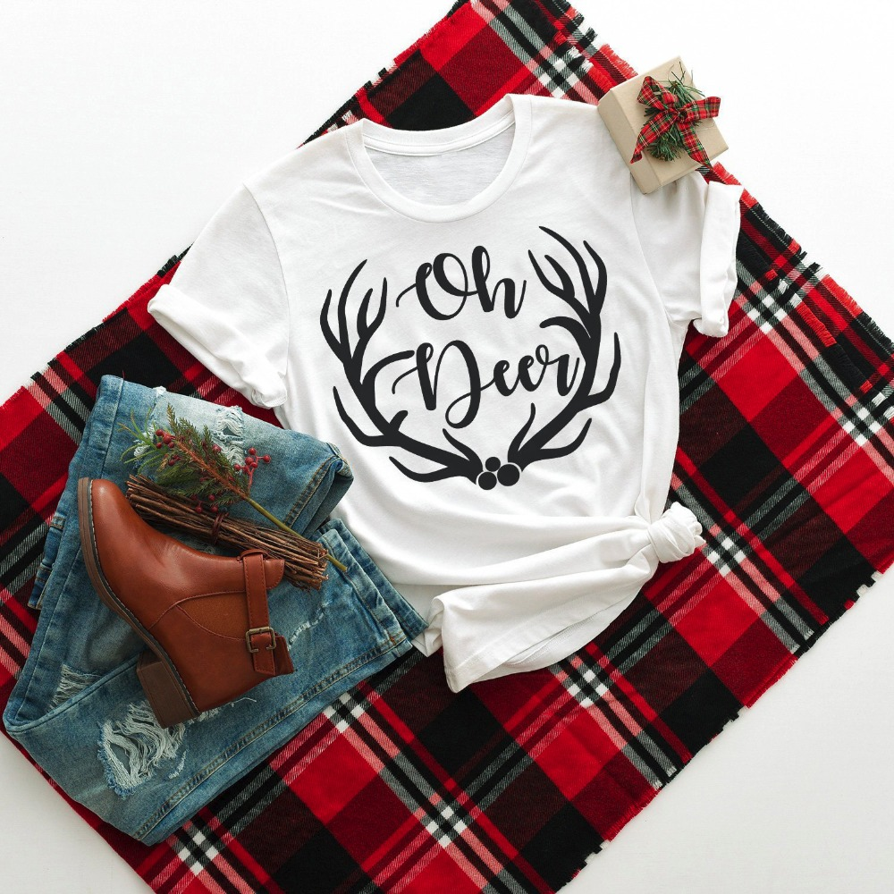 Oh <font><b>Deer</b></font> Christmas <font><b>Shirts</b></font> antlers graphic funny <font><b>women</b></font> fashion cotton casual pastel aesthetic girl street style pretty t-<font><b>shirt</b></font> tee image