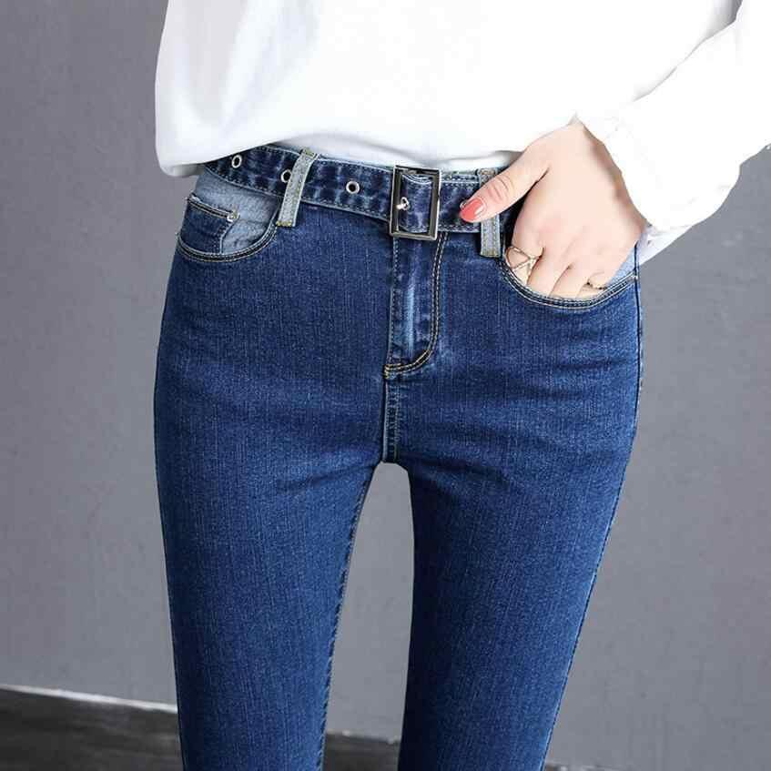خريف جديد جينز المرأة الملابس التباين بنطلون الرباط حزام خصر السراويل ضئيلة الاتجاه مرونة عادية الأصفاد الجينز