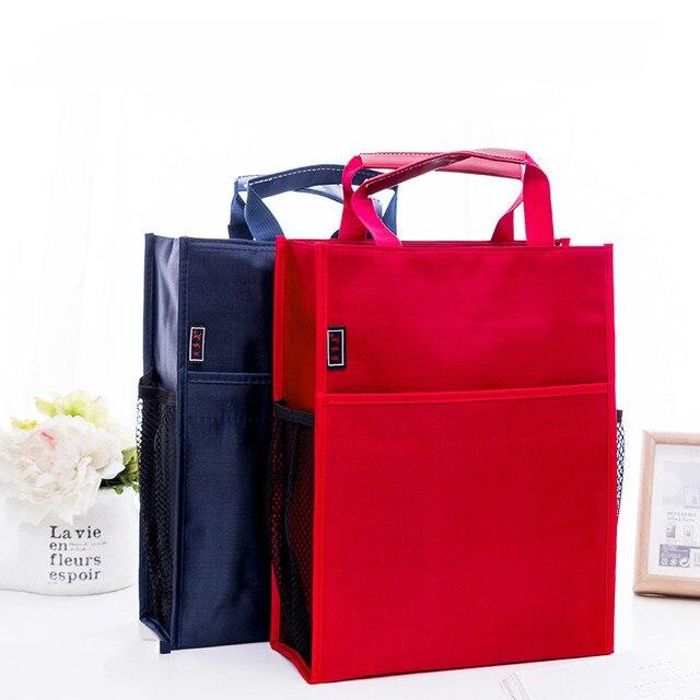 4 색 휴대용 파일 가방 a4 학생 교과서 데이터 파일 포켓 다기능 방수 휴대용 office 파일 가방 캔버스 가방